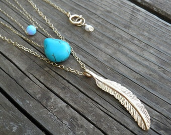Turquoise Layer Necklace, Triple Tier Layered Gold Necklace, Tiny 4mm Blue Opal Necklace, Turquoise Teardrop Necklace, Gold Feather Necklace