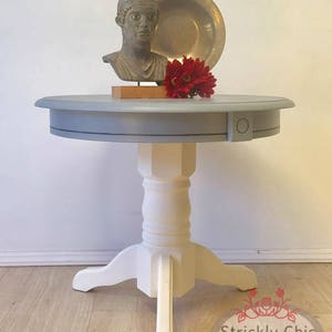 Vintage Drum Side Table Gray And White