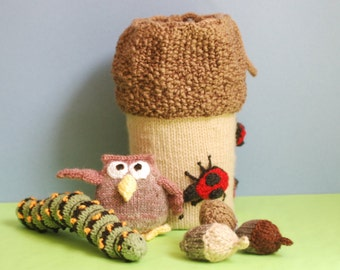 Knitted acorn bag - forest friends - gnomes and toadstools - ladybugs caterpillar and owl - childs toy - toddlers toy - educational and fun
