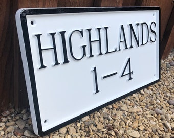 "Personalised House Name Sign 14"" x 8"" - Custom Hand Crafted Solid Cast Aluminium Black White Metal Traditional Address Number Plaque UK MADE"
