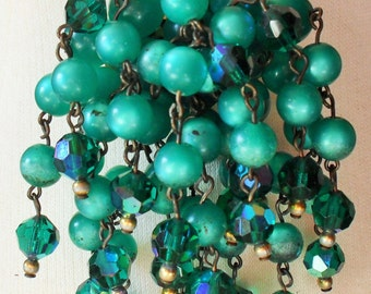 Vintage 60s Waterfall Cascade Brooch green moonglow beads and AB beads (3843)