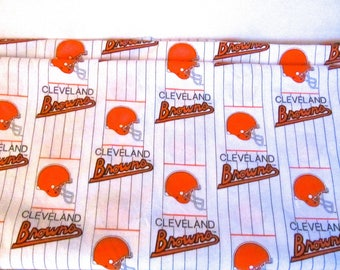 Cleveland Browns Cotton Fabric NFL Licensed Rare White Color - yardage