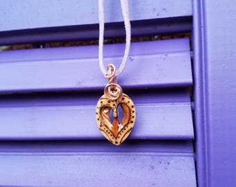 Hickory Heart Wood Burned Necklace with Copper Wrapping