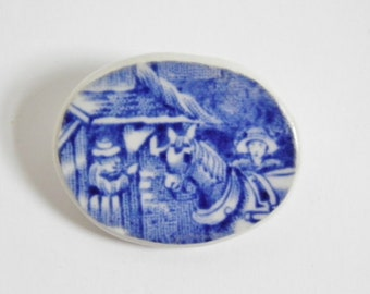 Recycled, china brooch with horse. Blue and white china brooch.