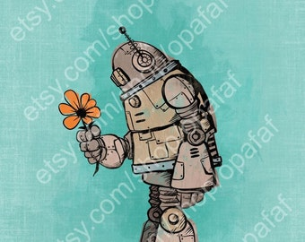 Robot Flower Art Print 11x14- Blue Background