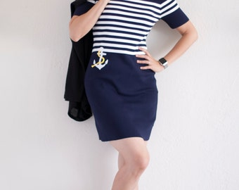 Unique gifts for her . Women's White & Navy Striped Short Sleeves Mini Pencil Dress with Anchor Applique