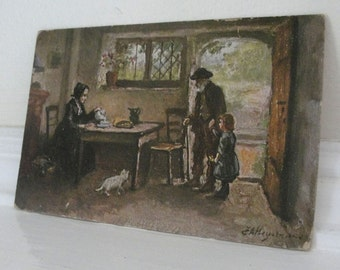 Country Cottage Postcard 1904 John A. Heyermans Vintage Art Postcard Raphael Tuck & Sons