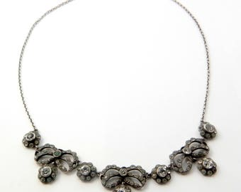 Antique Georgian Victorian Sterling Silver & Foil Backed Paste Daisy Festoon Necklace
