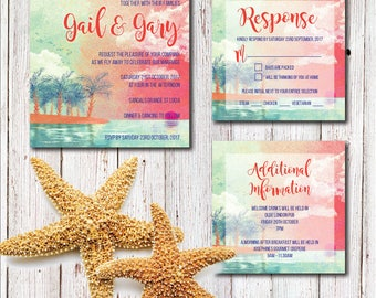 Tropical Destination Wedding Invitation Set