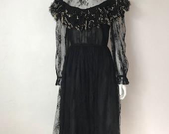Vtg 70s black lace romantic gold ruffle victorian dress small
