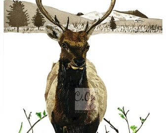 Spring Elk Watercolor Print