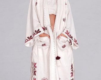 Hand loomed I FREE SHIPPING USA I Womens Outwear I Boho Coat I Kimono Cardigan I Kimono Jacket I Beach Cardigan
