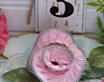 Melissa Frances Zipper Trim, Pink Zipper Trims, Scrapbook Trims, Paper Craft Trims, Embellishments, Shabby Style, Cottage Chic, Zippers