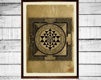 Sri Yantra print, sacred geometry print,tantric poster,  mystic print, occult antique tantra print aged paper