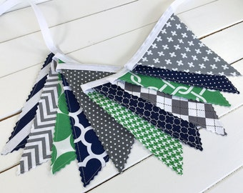 Bunting Banner Baby Boy Nursery Decor Fabric Bunting Nursery Bunting Fabric Banner Baby Bunting Green Navy Blue Gray Grey