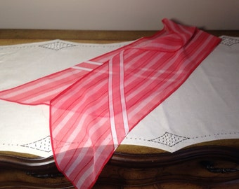 Vintage Long Scarf SHEER CANDY STRIPER Red and White Stripe
