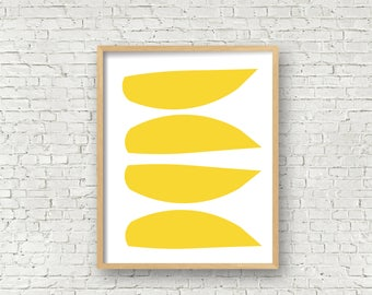 Yellow Abstract on white 11x14 and 16x20 digital art print yellow modern art instant download yellow mid century modern art print