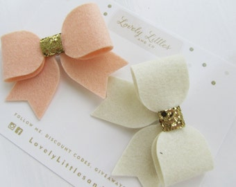 Girl/baby 2 Wool large Felt hair bow clip set, with gold centres - 100% Wool Felt. You choose colour!0