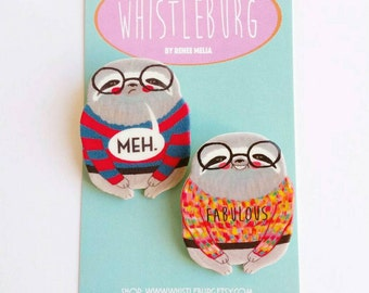 Mini Sloth pin set of two // Plastic and Resin // Fabulous Meh Sloth in a Sweater // quirky // colourful // statement