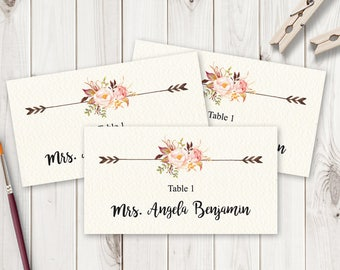 "Boho Wedding Place Card Template ""Bohemian Love"", Flat. DIY Watercolor Flowers Escord Cards. Printable Name Cards, MS Word. Instant Download"