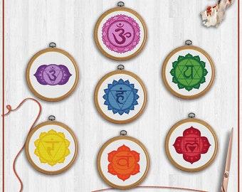 Chakras cross stitch patterns, Seven chakras cross stitch, 7 chakra cross stitch, All chakra cross stitch, Cross stitch pattern set, PDF