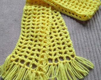 Yellow Scarf, Filet, Bright Yellow, Ready to Ship