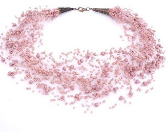 Blush necklace, Womens jewelry, Unique piece, Elegant, Extravagant, Pearls choker, Fashion, Must have, Trending item, Gift for bride, sister