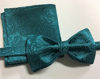 Handmade Mens Teal Brocade Bow Tie and Hanky Set Pre-tied Adjustable Strap Wedding Bowtie, Handkerchief, Gift for him, One of a kind,Unique