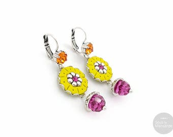 Round earrings flat chartreuse, crystal beads fuchsia, boho earrings colorful, ethnic chic earrings