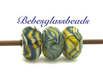 Lampwork Boro Beads Set of 3 Handmade Boro Borosilicate Glass Beads BebesGlassBeads  -Ferns in Spring