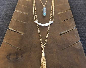 Quartz, Gold, Layered Three Strand Necklace, Removable Strands