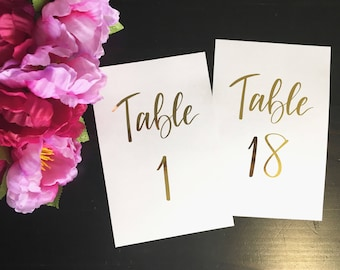 Gold Wedding Table Numbers  |   Custom Hand Lettering Script with Gold foil