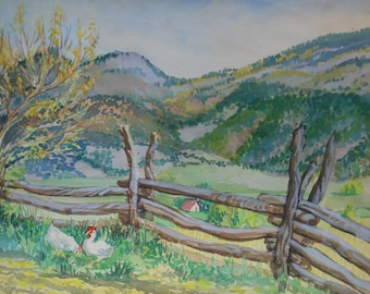 vintage watercolor of chickens in landscape hill picket fence signed gibbons