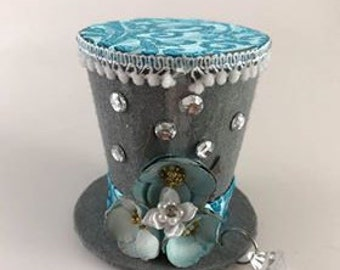 Silver Flower-Tiny Top Hat