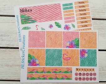Mini Happy Planner June Weekly Kit, June, Summer, Tropical, Flamingo