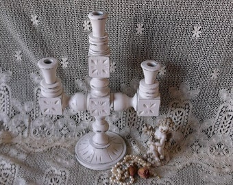 Carved wood Three arm, Candleabra, shabby and chic, white, painted vintage