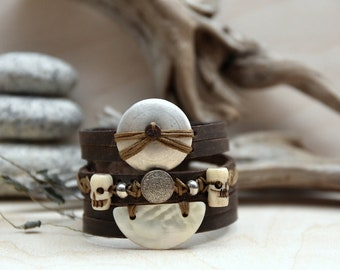 Pirate bracelet hand - made leather handmade bracelet - RuskCuir pirate