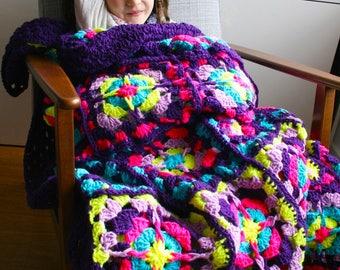 Crochet Blanket pattern, Stained glass blanket crochet pattern (260) INSTANT DOWNLOAD