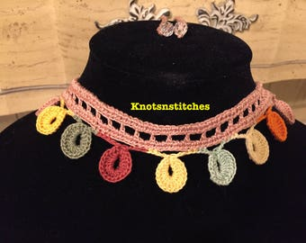 Handmade, Teardrop Crochet, Choker Necklace, Jewelry