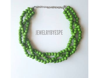 Green Statement Necklace Chunky Bib Necklace Beach Wedding Jewelry Multi Strand Necklace Green Necklace Olive Green Gifts for her