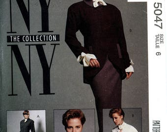 McCall's 5047 NY New York Collection Jacket Skirt Blouse Top Steampunk Size 6 Uncut Vintage Sewing Pattern 1990