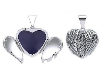 Sterling Silver Hinged Angel Wings Heart Shaped Locket