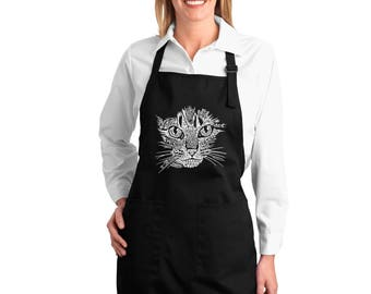 Full Length Dual Pocket Apron - Created out of Cat Themed Words Cat Face