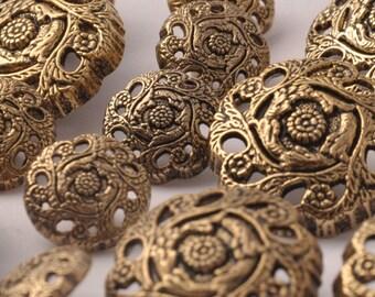 button vintage gold metal