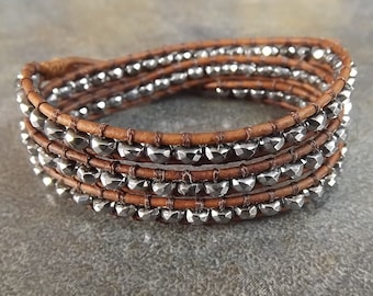 Triple Leather Wap Bracelet, Faceted Hematite Beads With Brown Leather