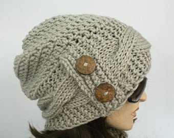 Womens Chunky Knit Hat Light Taupe Slouchy Hat with Buttons Womens Accessories Fall Fashion Womens Winter Hat