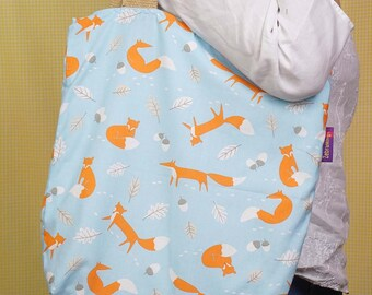 Fox-themed Bag-in-a-bag - handy bag in its own pouch!