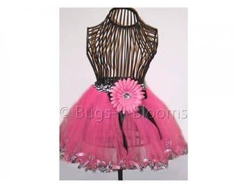 GIRLS TUTU - Pink Black Zebra Animal Dress Up Girls Costume Toddler Tutus Skirt Halloween Fairy Ballerina Princess - Fits 2, 3, 4, 5, 6, 8