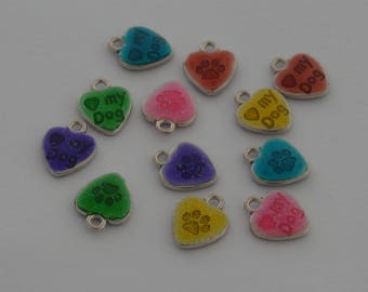 6 charms hearts print and Word Platinum color multicolored enamel 15 x 12 x 3 mm