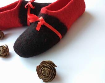 Christmas gifts Felt slippers Home felt shoes Wool slippers Women felt clogs Wool boiled slippers Valenki Red Black Custom shoes